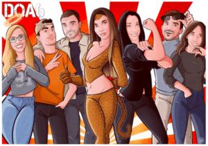 Ilustración caricatura de grupo