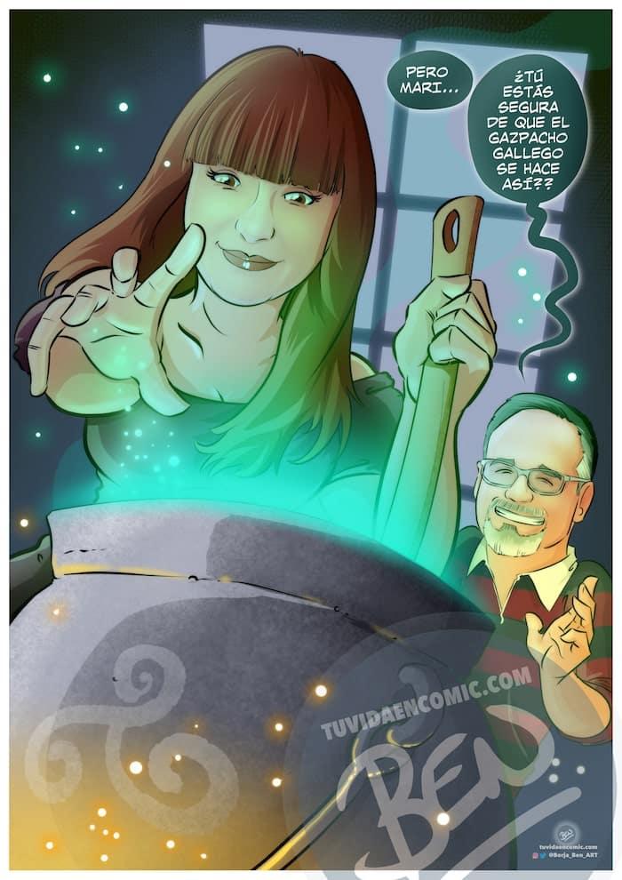 Composición de Ilustraciones - viajes, marcas caras y meigas gallegas - Caricaturas - Regalo de aniversario original - www.tuvidaencomic.com - Borja_Ben_ART - 2