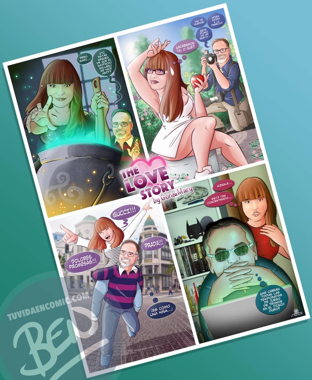 Composición de Ilustraciones - viajes, marcas caras y meigas gallegas - Caricaturas - Regalo de aniversario original - www.tuvidaencomic.com - Borja_Ben_ART - COMPLETO