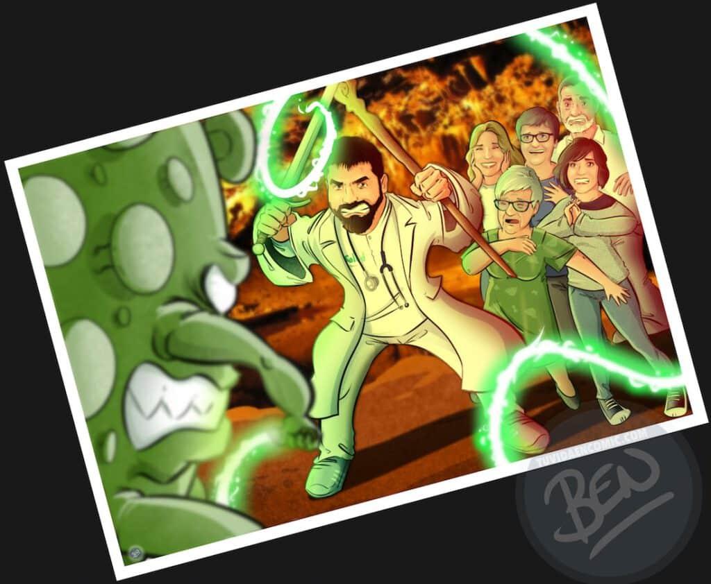 """Ilustración de familia - """"Luchando contra la Covid"""" - Caricatura grupal - Caricatura de Familia - www.tuvidaencomic.com - Regalo personalizado 2"""