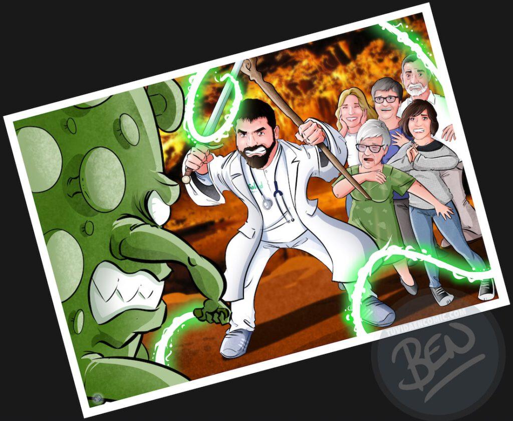 """Ilustración de familia - """"Luchando contra la Covid"""" - Caricatura grupal - Caricatura de Familia - www.tuvidaencomic.com - Regalo personalizado 3"""