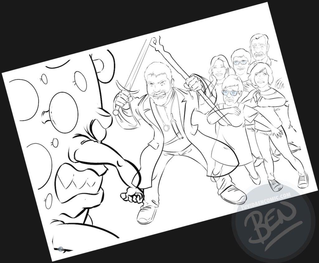 """Ilustración de familia - """"Luchando contra la Covid"""" - Caricatura grupal - Caricatura de Familia - www.tuvidaencomic.com - Regalo personalizado 4"""