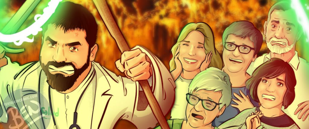 """Ilustración de familia - """"Luchando contra la Covid"""" - Caricatura grupal - Caricatura de Familia - www.tuvidaencomic.com - Regalo personalizado 5"""