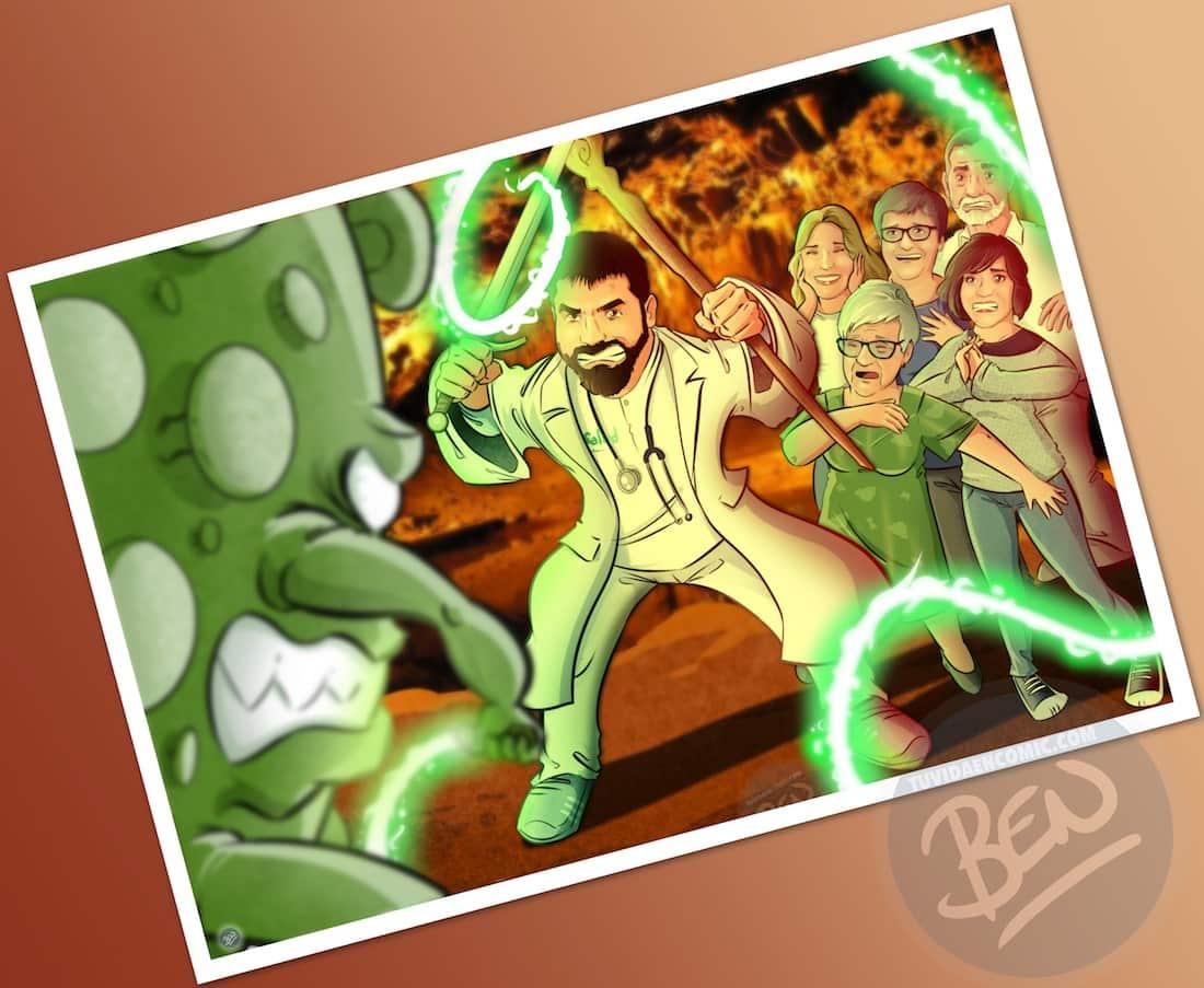 """Ilustración de familia - """"Luchando contra la Covid"""" - Caricatura grupal - Caricatura de Familia - www.tuvidaencomic.com - Regalo personalizado 7"""