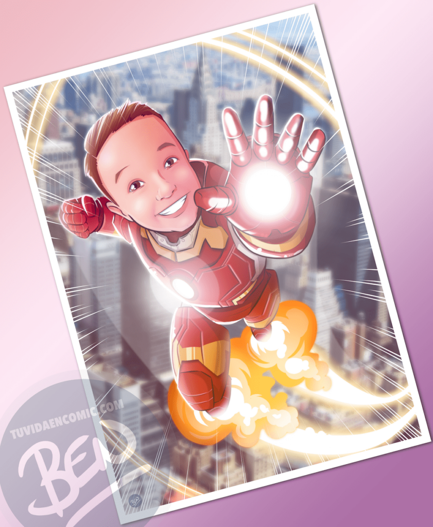 Ilustración infantil de superhéroe - caricatura infantil - superhéroe - regalos originales - www.tuvidaencomic.com 2