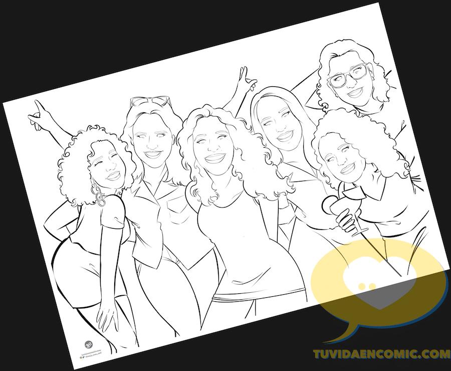 Ilustración de grupo - Regalo para las mejores amigas - Caricatura de grupo de amigas - www.tuvidaencomic.com - regalos personalizados - regalo de boda original - 2