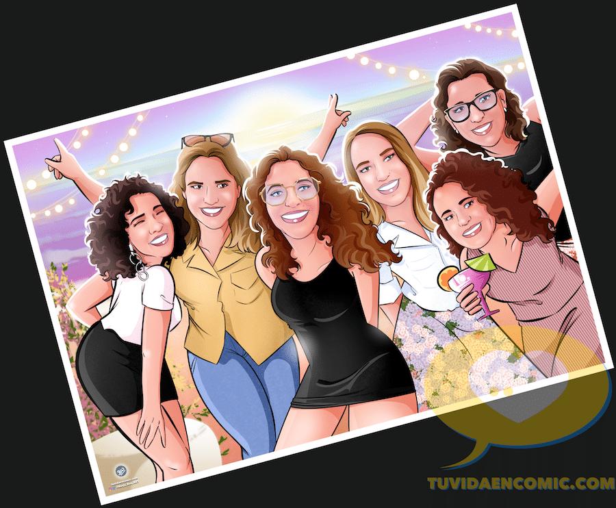 Ilustración de grupo - Regalo para las mejores amigas - Caricatura de grupo de amigas - www.tuvidaencomic.com - regalos personalizados - regalo de boda original - 4