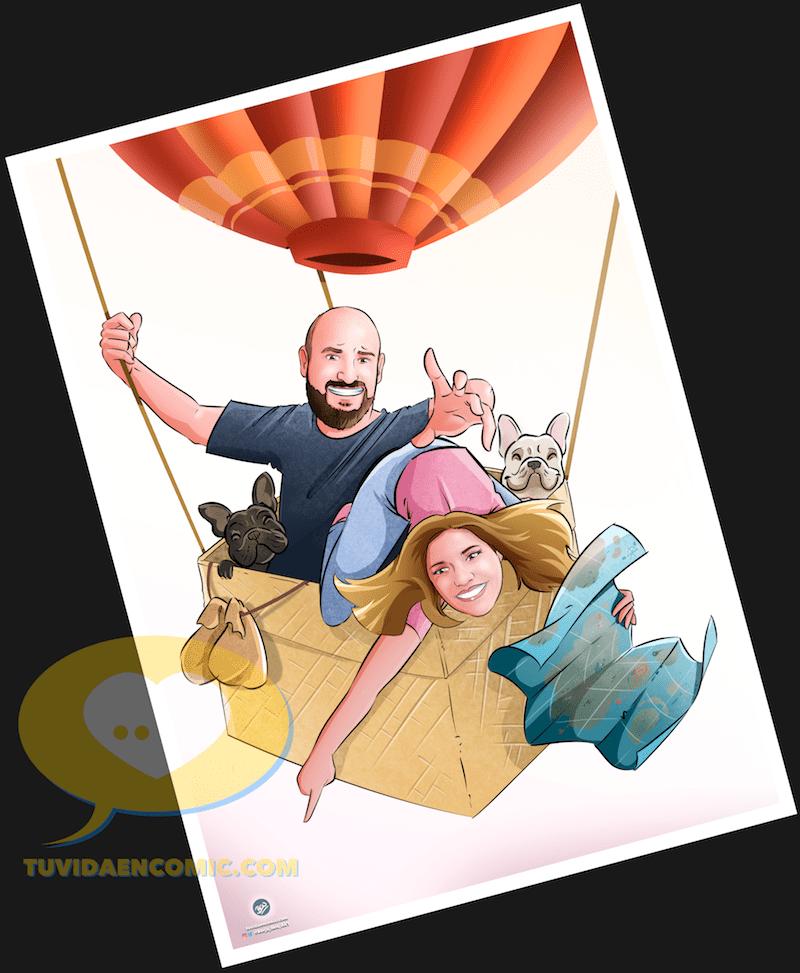 Viajando juntos por el mundo - Regalos personalizados - caricatura personalizada - ilustración personalizada - tuvidaencomic.com - Ilustración 3-min