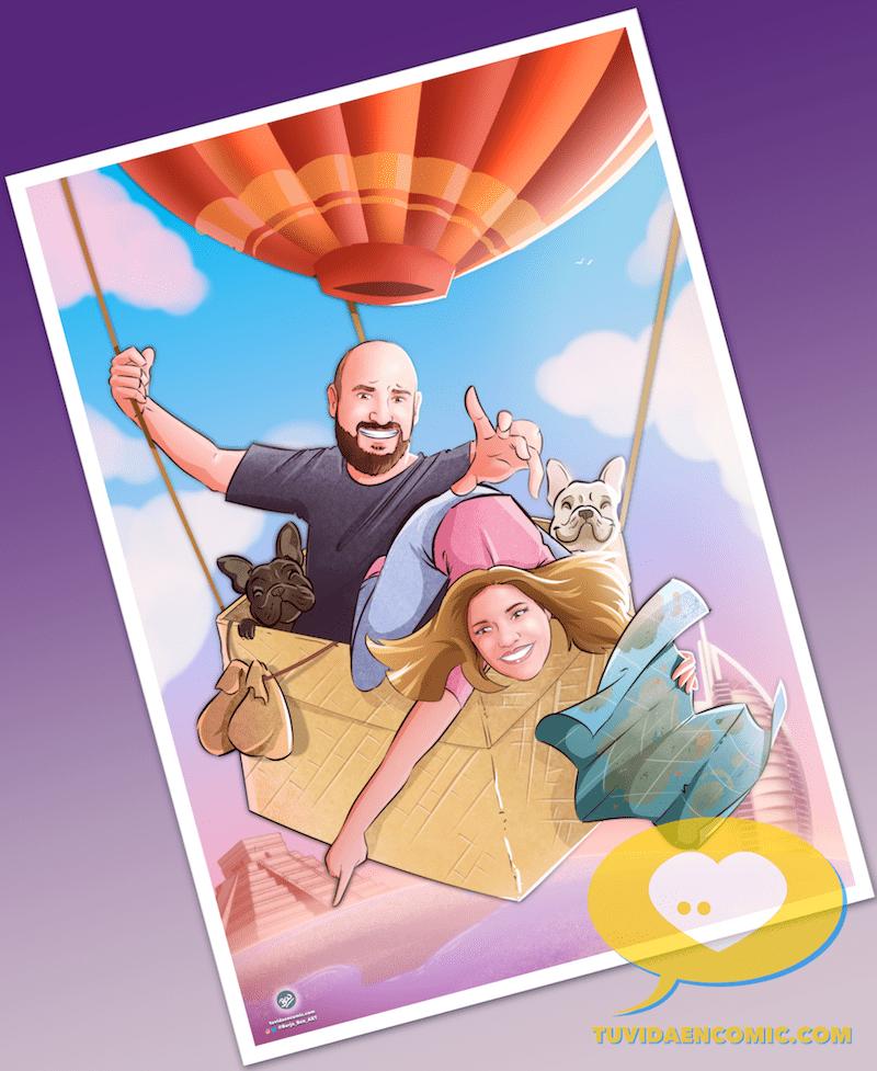 Viajando juntos por el mundo - Regalos personalizados - caricatura personalizada - ilustración personalizada - tuvidaencomic.com-min