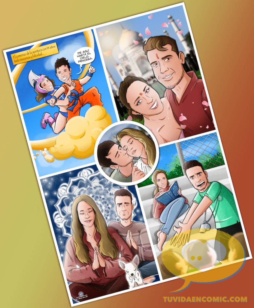 Composición de ilustraciones - Juntos desde niños - Regalo de Boda tipo cómic - www.tuvidaencomic.com - Regalo de boda personalizado - Bodas originales - 6