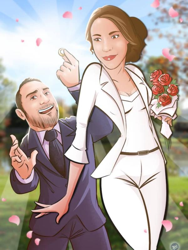 Ilustración personalizada - Regalo de aniversario - www.tuvidaencomic.com - caricaturas personalizadas - regalos originales personalizados - Pedida de mano