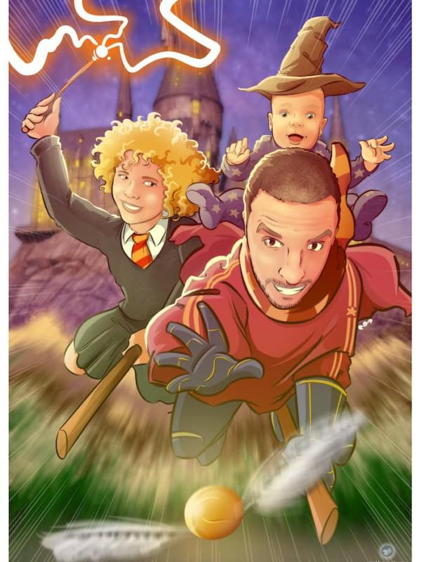 Ilustración personalizada de familia harry potter - magia - regalo de cumpleaños personalizado - arte - www.tuvidaencomic.com - caricaturas personalizadas - regalos originales personalizados