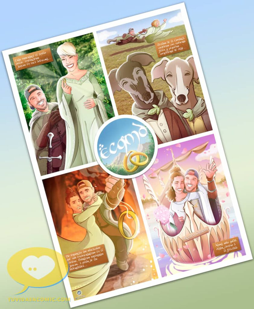 Lámina de Ilustraciones personalizadas - Mi tesorooooo - Regalo de boda original - www.tuvidaencomic.com - Regalo para los novios - 0