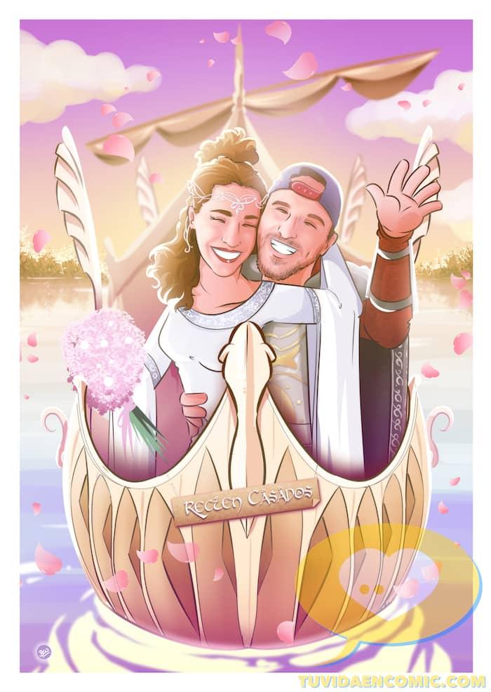 Lámina de Ilustraciones personalizadas - Mi tesorooooo - Regalo de boda original - www.tuvidaencomic.com - Regalo para los novios - 4