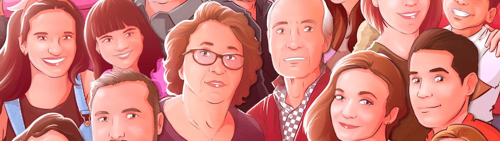 2 - Ilustración personalizada de grupo - ilustración familiar - regalo para los abuelos - caricatura jugando baloncesto basket - www.tuvidaencomic.com 0