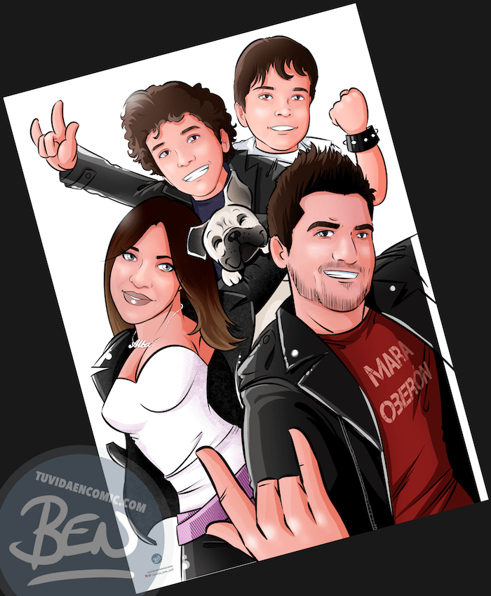 Ilustración de familia -caricatura familiar - familia rockera - regalo de cumpleaños original heavy metal personalizado - www.tuvidaencomic.com - 4-min