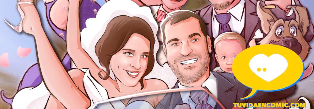 Regalo de boda personalizado - Ilustración personalizada - caricatura grupal - www.tuvidaencomic.com - regalos personalizados artísticos - 0a
