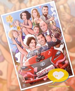 Regalo de boda personalizado - Ilustración personalizada - caricatura grupal - www.tuvidaencomic.com - regalos personalizados artísticos