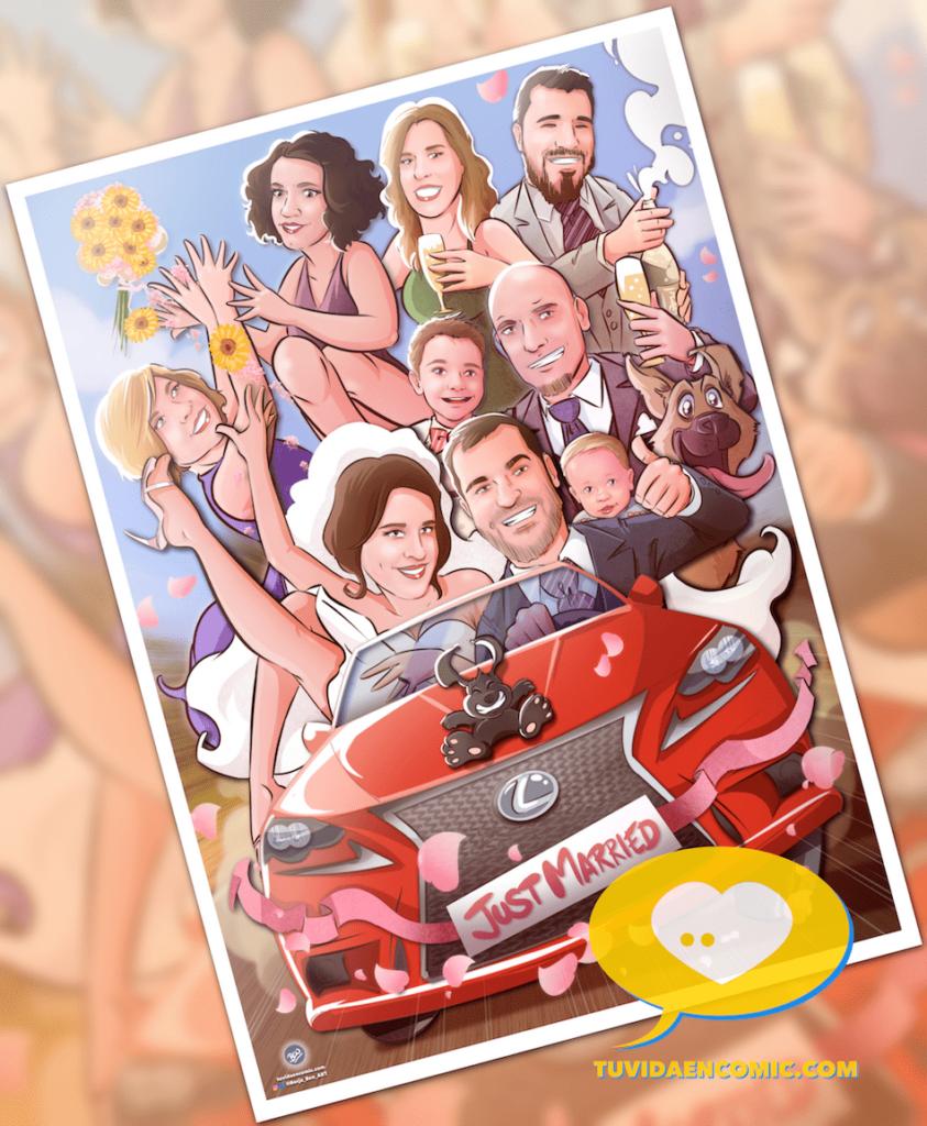Regalo de boda personalizado - Ilustración personalizada - caricatura grupal - www.tuvidaencomic.com - regalos personalizados artísticos - 6