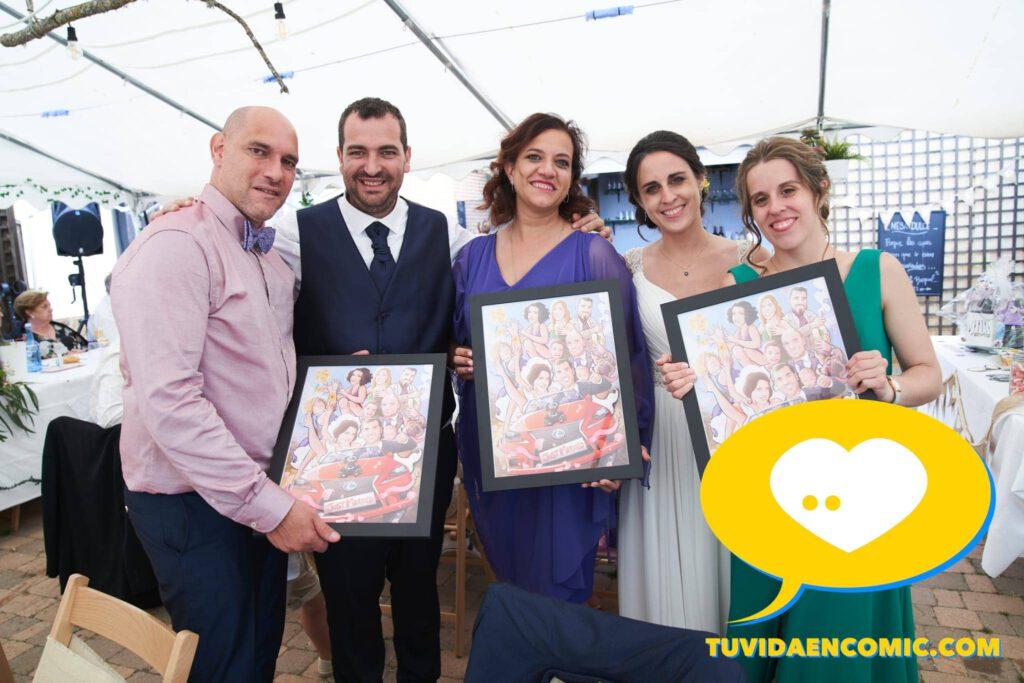 Regalo de boda personalizado - Ilustración personalizada - caricatura grupal - www.tuvidaencomic.com - regalos personalizados - regalos artísticos - TESTIMONIO CLIENTES SATISFECHOS 0